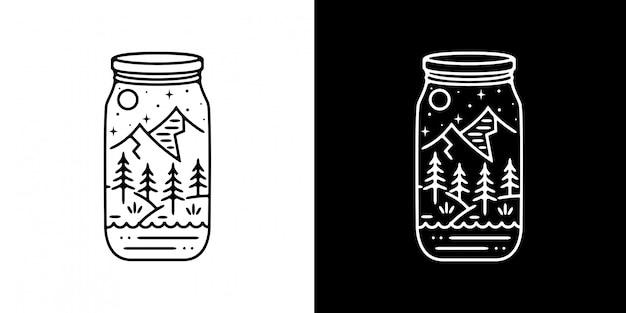ボトルの山と木モノラインデザイン