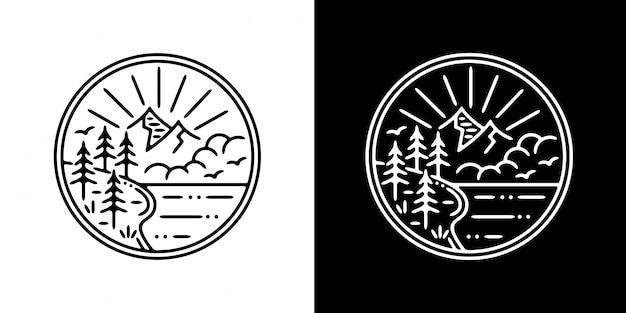 山と木のモノラインバッジのデザイン