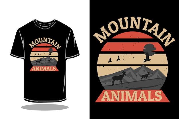 Дизайн макета футболки силуэта горных животных в стиле ретро