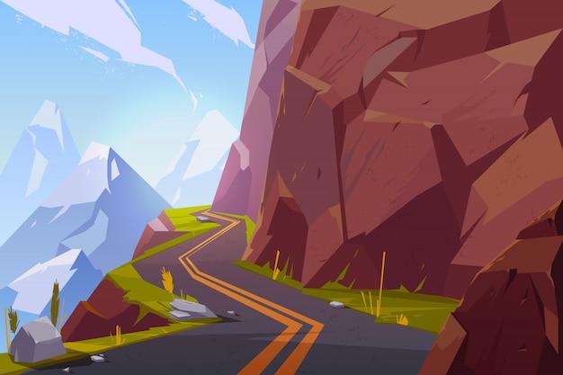 山のアスファルト道路、岩の多い夏の時間の田舎の風景の中の空の高速道路を巻き。