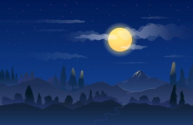 Гора ночью на фоне ландшафта полной луны