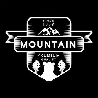 Mountain, bear and forest trees silhouettes logo. trademark premium quality on black background. ribbon, nature, cliff and animal depicted on logotype template vector flat illustration