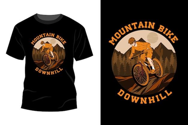 산악 자전거 내리막 티셔츠 이랑 디자인 빈티지 복고풍