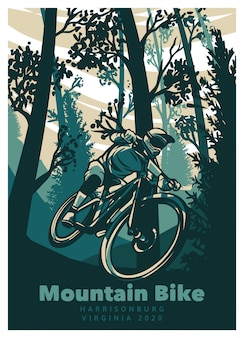 Mountain bike in the forest vintage poster template