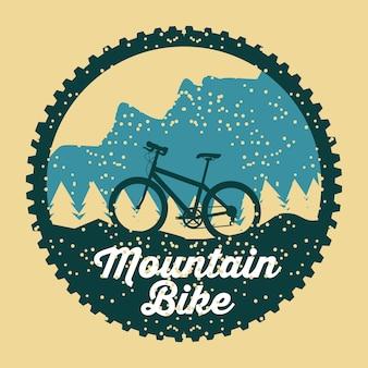 Mountain bike grunge badge fun sport