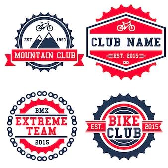 Mountain bike logo badge isolated in white background