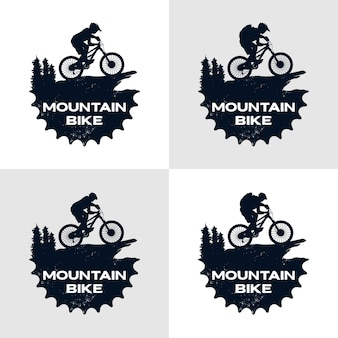Mountain bike logo template gear and cyclist