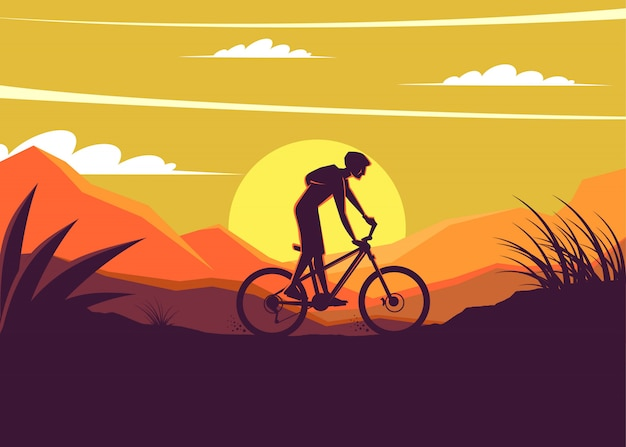 Mountain bike silhoeutte with sunset background