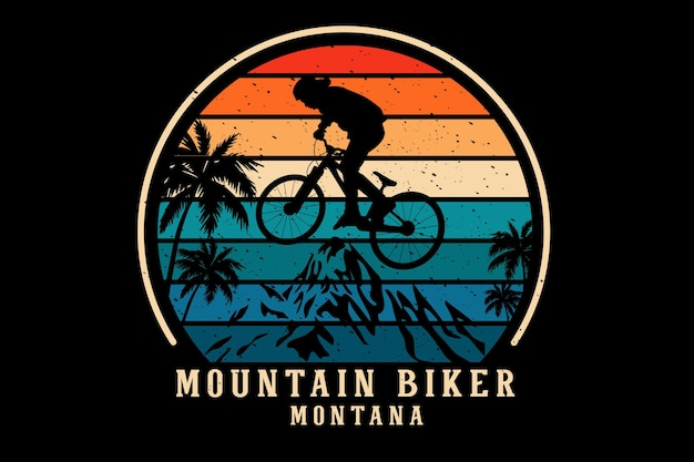 Mountain biker montana silhouette design