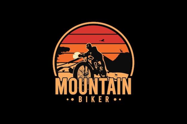 산악 자전거, 레트로 빈티지 스타일의 손으로 그림을 그리기