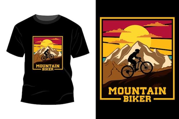 산악 자전거 t-셔츠 디자인 빈티지 레트로