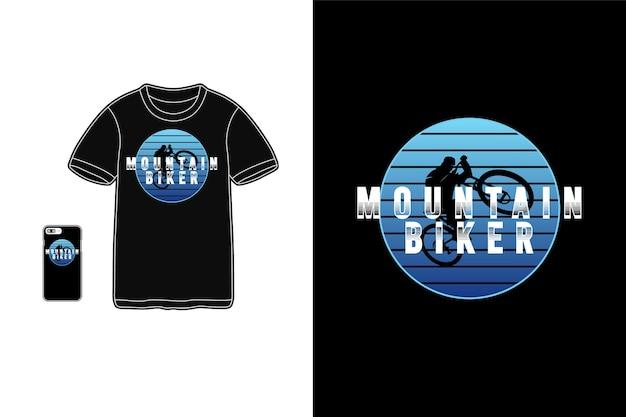 Mountain biker tshirt merchandise silhouette mockup