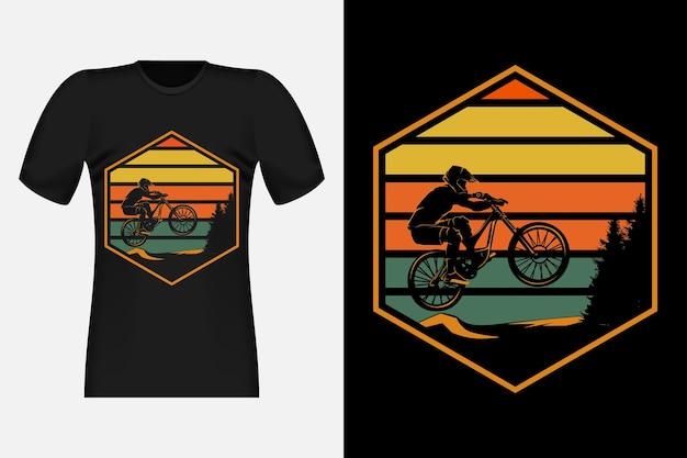 Mountain biking vintage retro t-shirt design