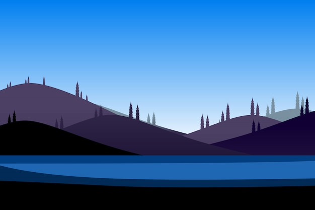 Mountain and blue sky cartoon background