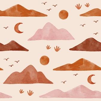 Mountain boho shape modern organic seamless pattern backgraound