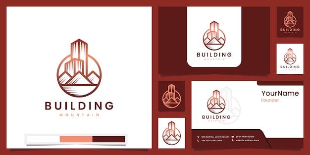 美しいラインアートのロゴデザインからインスピレーションを得た山の建物のコンセプト