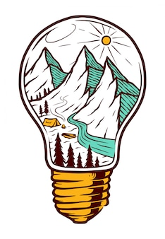 Mountain in the bulb illustration