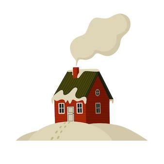 Горный домик красный дом в заснеженных горах