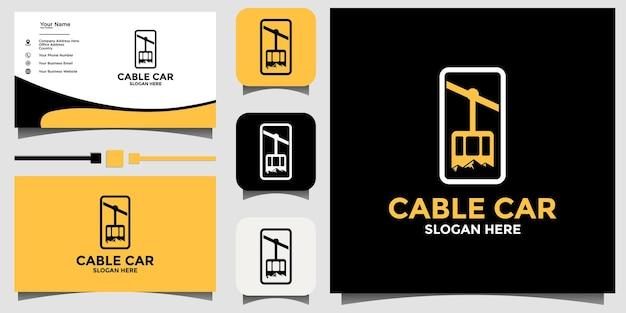 テンプレートの背景名刺と山ケーブル車のロゴデザイン