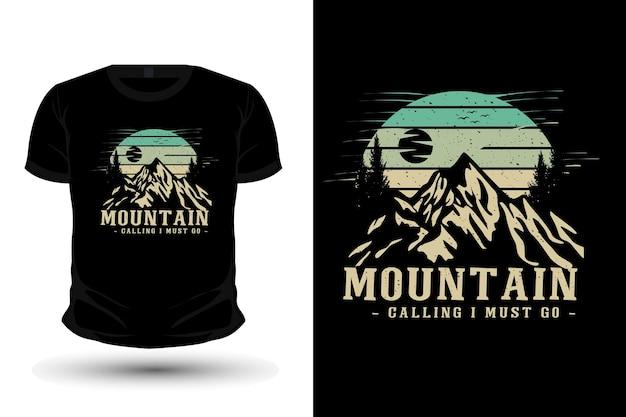 Mountain calling merchandise silhouette mockup t shirt design