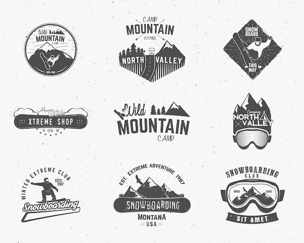 Mountain camp badges set logos collection