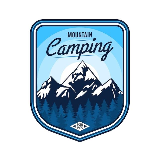 Значок горный кемпинг, приключения на открытом воздухе, путешествия