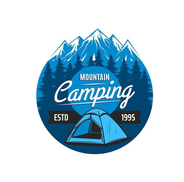 산악 캠핑 아이콘, 탐험, 하이킹, 암벽 등반 클럽을 위한 벡터 상징. 가파른 바위 언덕과 눈 덮인 봉우리 배경에 텐트. 야외 모험 익스트림 스포츠 및 여행을 위한 라운드 라벨