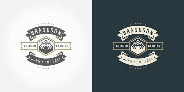 Mountain camping logo emblem outdoor landscape vector illustration rock hills silhouette for shirt or print stamp. vintage typography badge design.