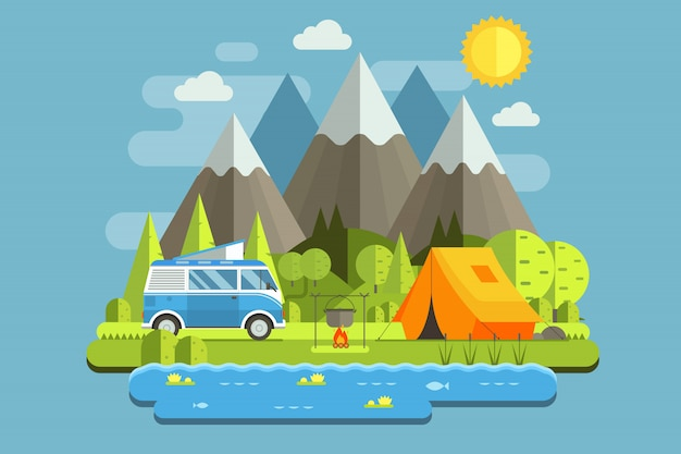 Mountain camping travel landscape with rv camper bus in flat design.