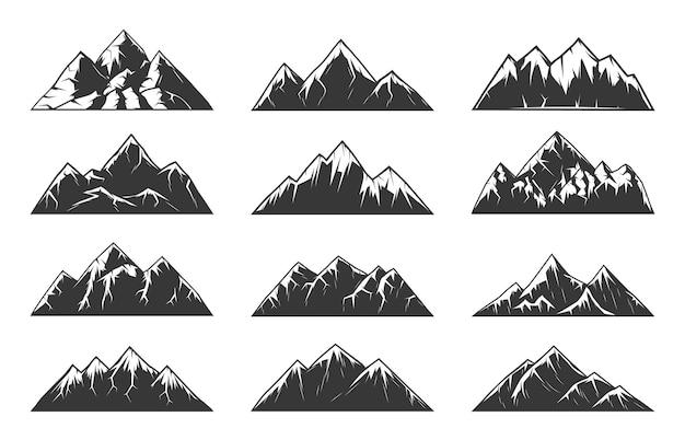 Mountain chain snowy peaks, rocky hills end volcanoes