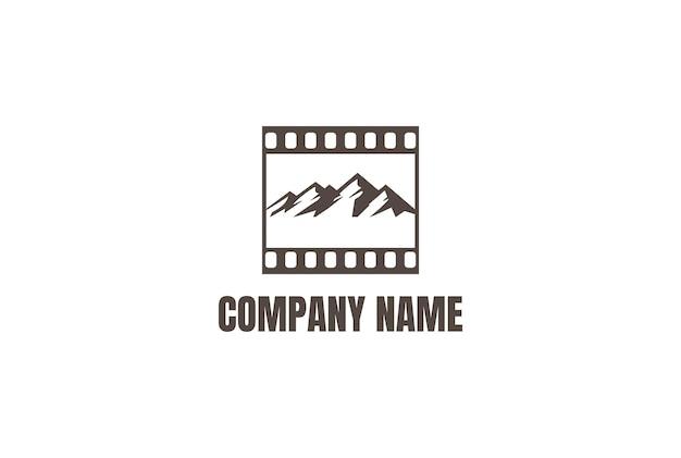 Mountain cinema film stripes reel movie production logo design vector