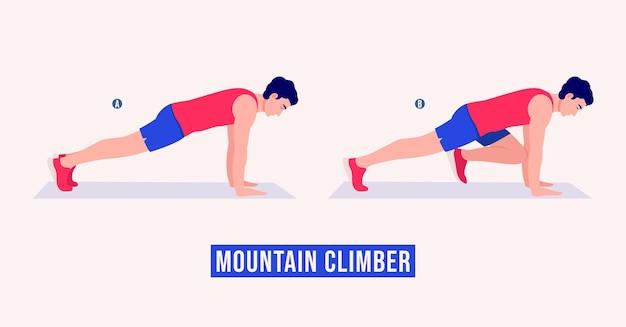 Упражнение альпиниста мужчины тренировки фитнес аэробика и упражнения