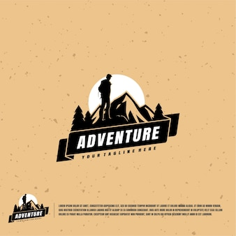 Mountain climber illustration logo