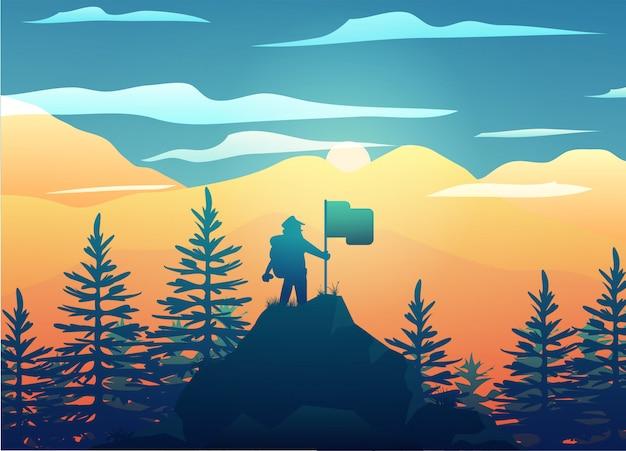 A mountain climber sets up a flag landscape