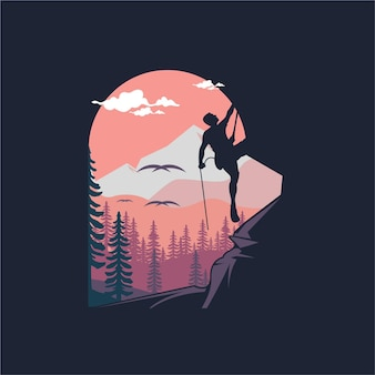 登山家の夕日のロゴデザインイラスト