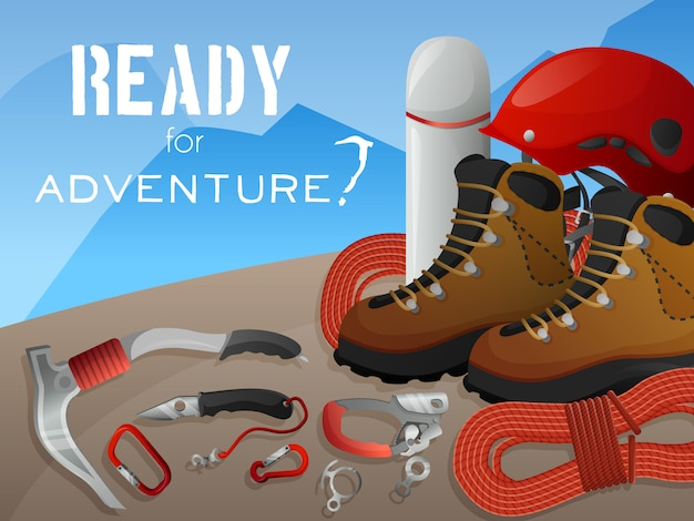 Mountain climbing adventure background banner