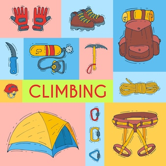 Mountain climbing, alpinism and mountaineering vector illustration.