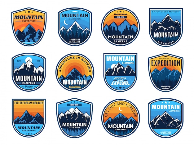 Mountain climbing, camping travel icons, tourism