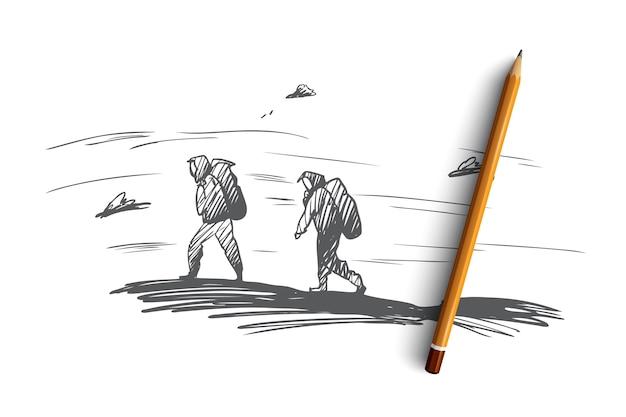登山、登山、エクストリーム、スポーツのコンセプト。高山のコンセプトスケッチに登る手描きの人々。