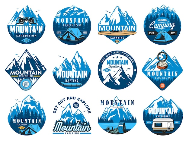 Mountain climbing icons, rafting expedition and camping symbols