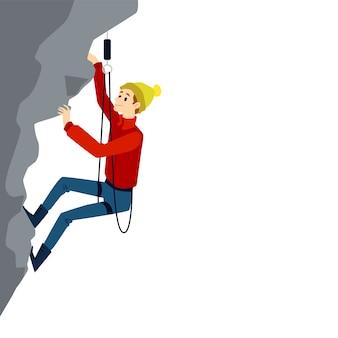 灰色の崖の岩の上に垂直に登る装置を備えた登山男。白い背景に笑みを浮かべて若い極端な登山家-イラスト