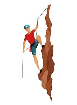 Скалолазание. мужчины, восхождение на скалистую гору с профессиональным снаряжением. боулдеринг. сцена игры изолированная на белой предпосылке.