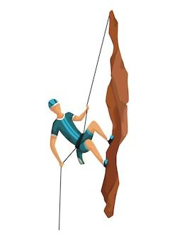Скалолазание. мужчины, восхождение на скалистую гору с профессиональным снаряжением. боулдеринг. игровая сцена, изолированные на белом фоне