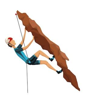 등산. 전문 장비와 함께 바위 산에 등반 하는 남자. 볼더링 스포츠. 게임 장면 흰색 배경에 고립입니다.