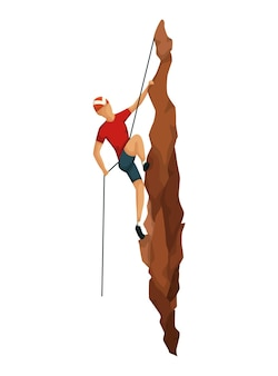 등산. 전문 장비로 암벽 등반하는 남자들