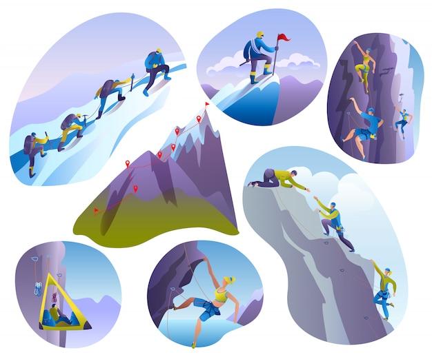 登山人の白いセットのイラスト。クライマーは岩壁や山岳の崖、エクストリームスポーツの人々、登山家のキャラクターマウント、登山を登ります。