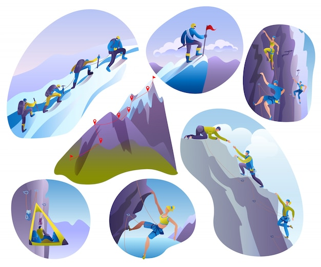 Mountain climbing people  illustrations  on white set. climber climbs rock wall or mountainous cliff and people in extreme sport, mountaineer character mounts, mountaineering.