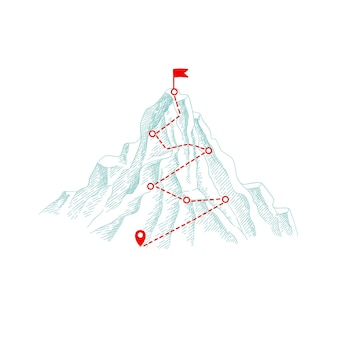 Mountain climbing route. outdoor business concept path to the top hill progression  illustration.