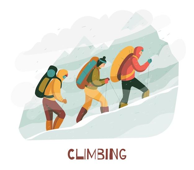 キャンプ用品付きの保護服ハーネスバックパックを身に着けている登山家との登山旅行フラット構成