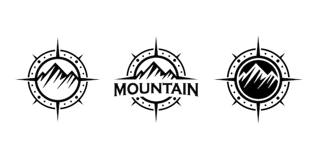 Mountain and compass concept, adventure or journey logo design inspiration